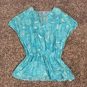 Lilly Pulitzer Blue Seashell Caftan Cover Up